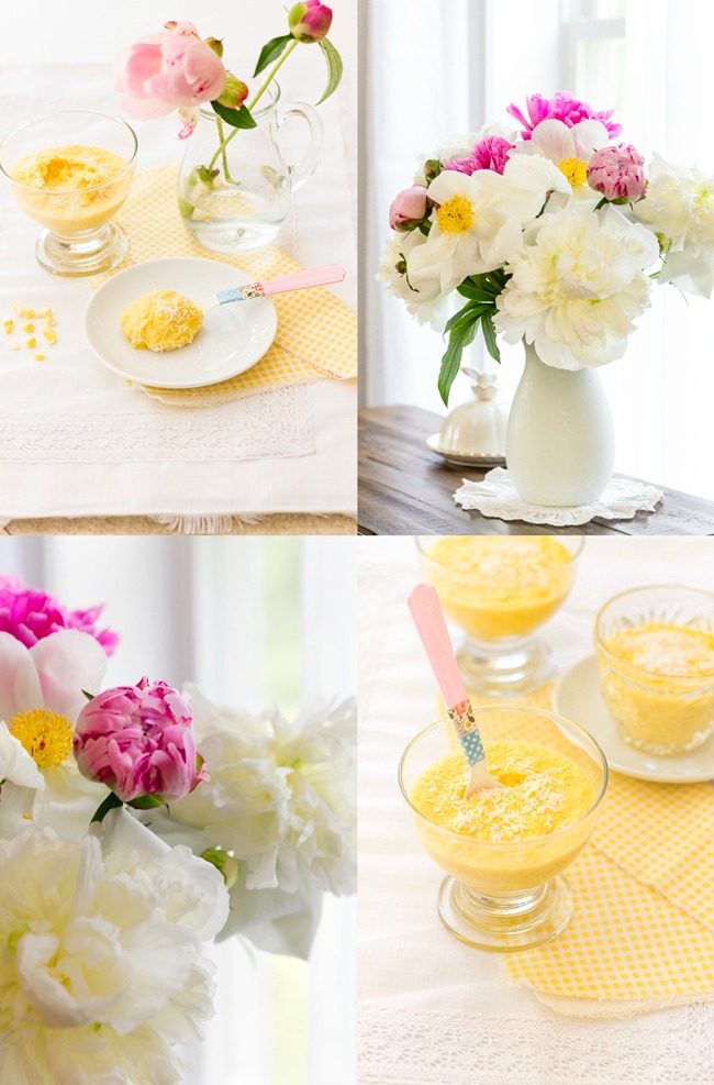 Sweet corn and coconut pudding collage