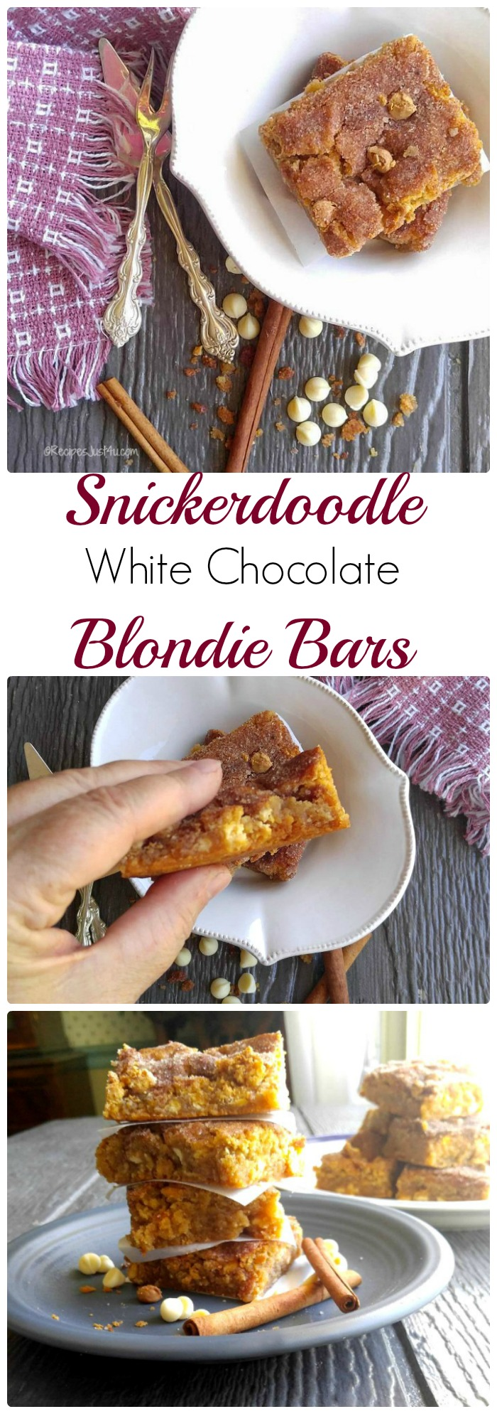 These Snickerdoodle white chocolate blondie bars have the taste of the traditional cookie but the chewy texture of a brownie. They are easy to make and TO DIE FOR! recipesjust4u.com