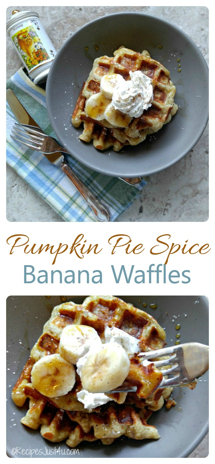 These banana pumpkin pie spice waffles are the perfect way to start your holiday morning. They are rich with just a hint of pumpkin.  recipesjust4u.com  #DelightfulMoments #ad