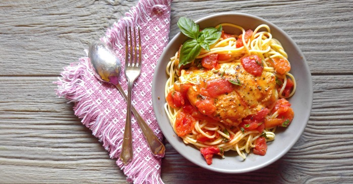 Basil Garlic Chicken with a Buttery Tomato Sauce - Recipes Just 4U
