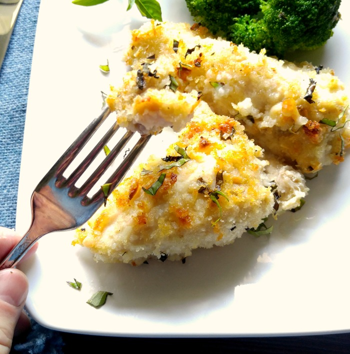Oven baked Parmesan chicken close up
