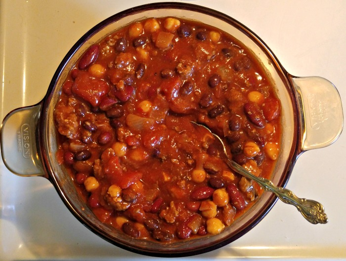 Pan of Smokey 3 bean chili