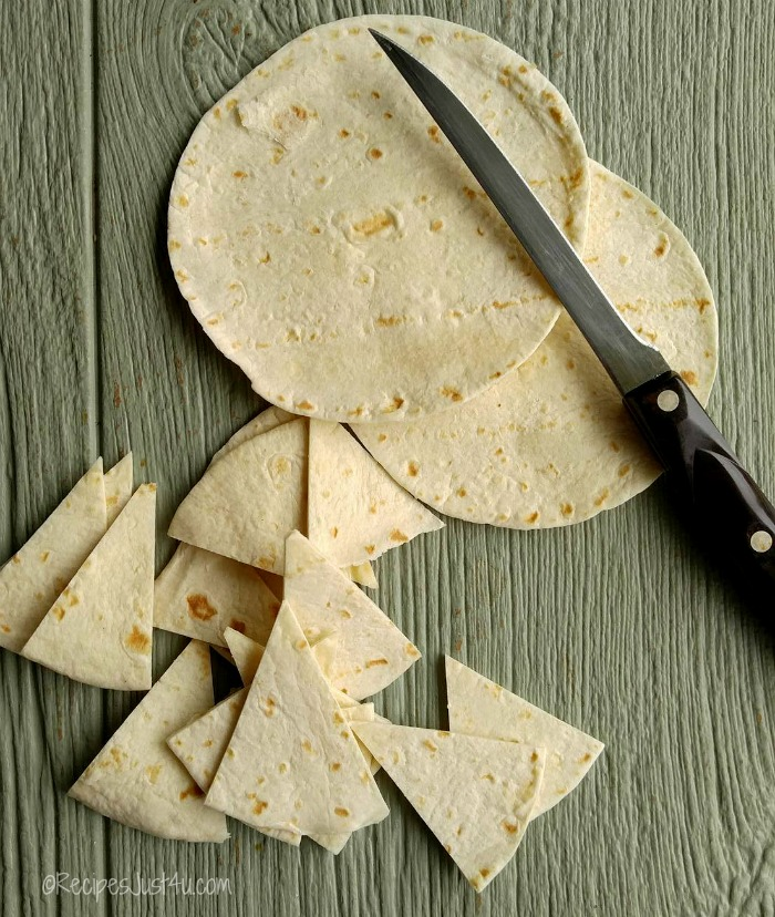 cut flour tortillas into triangles