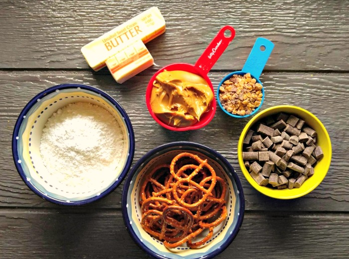 Ingredients for the peanut butter pretzel bars