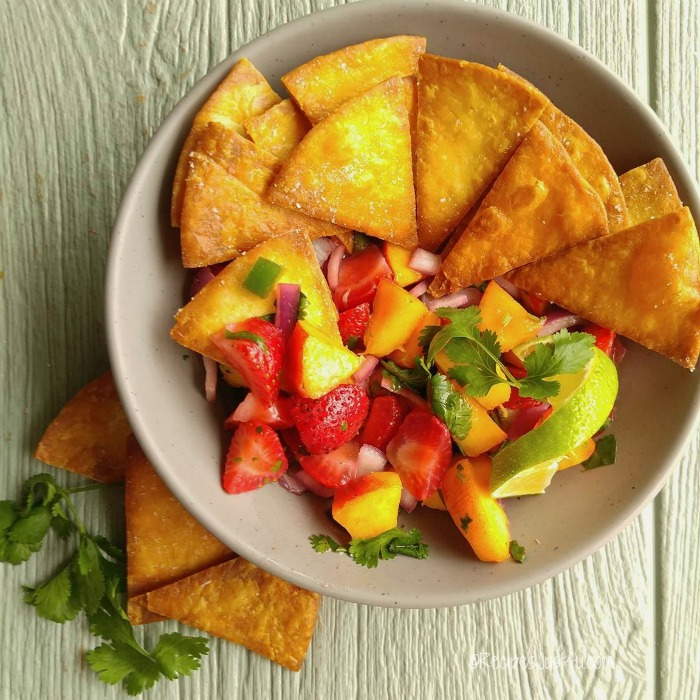 Strawberry peach jalapeño salsa and home made tortilla chips