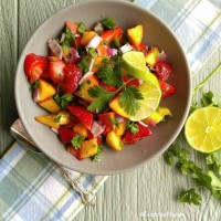 Strawberry peach jalapeño salsa
