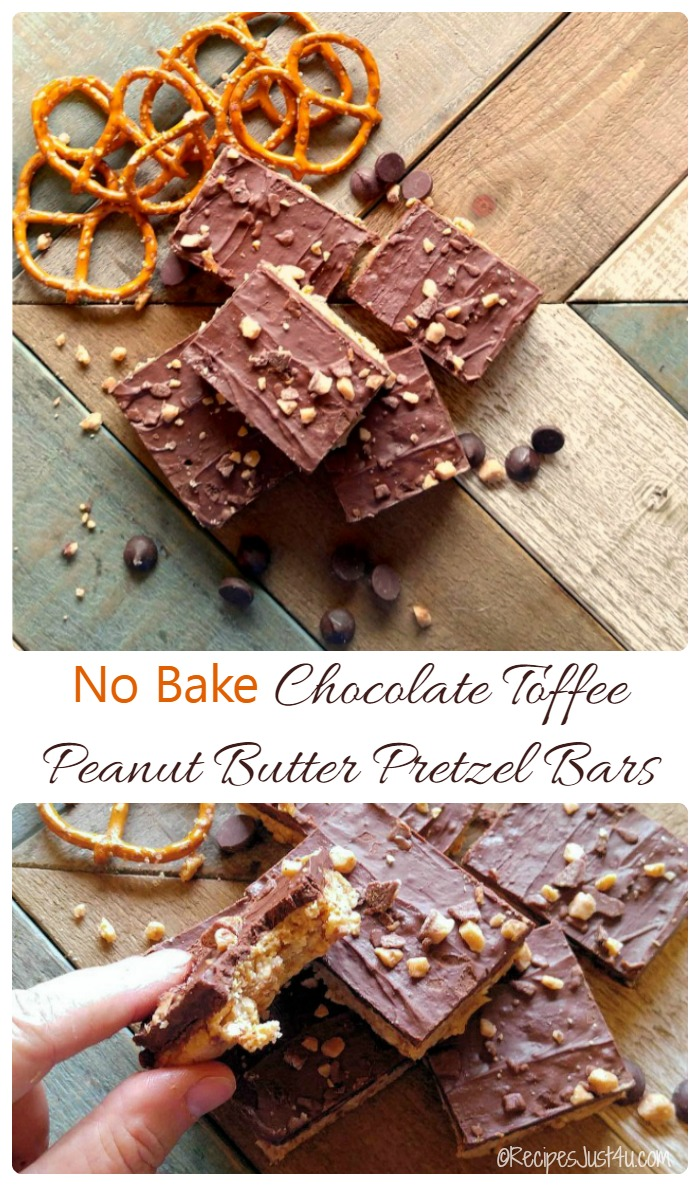 These no bake chocolate toffee peanut butter pretzel bars taste like a combination of a Heath bar and a Reese's peanut butter cup. Ridiculously easy to make and SO GOOD! recipesjust4u.com