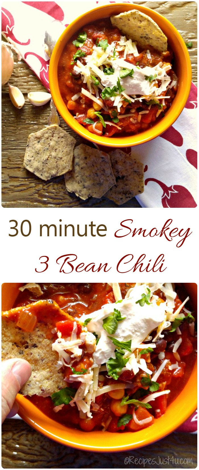 This Smokey 3 bean chili is ready in 30 minutes but tastes like you spent hours making it.  The dish is bursting at the seams with flavor.  recipesjust4u.com