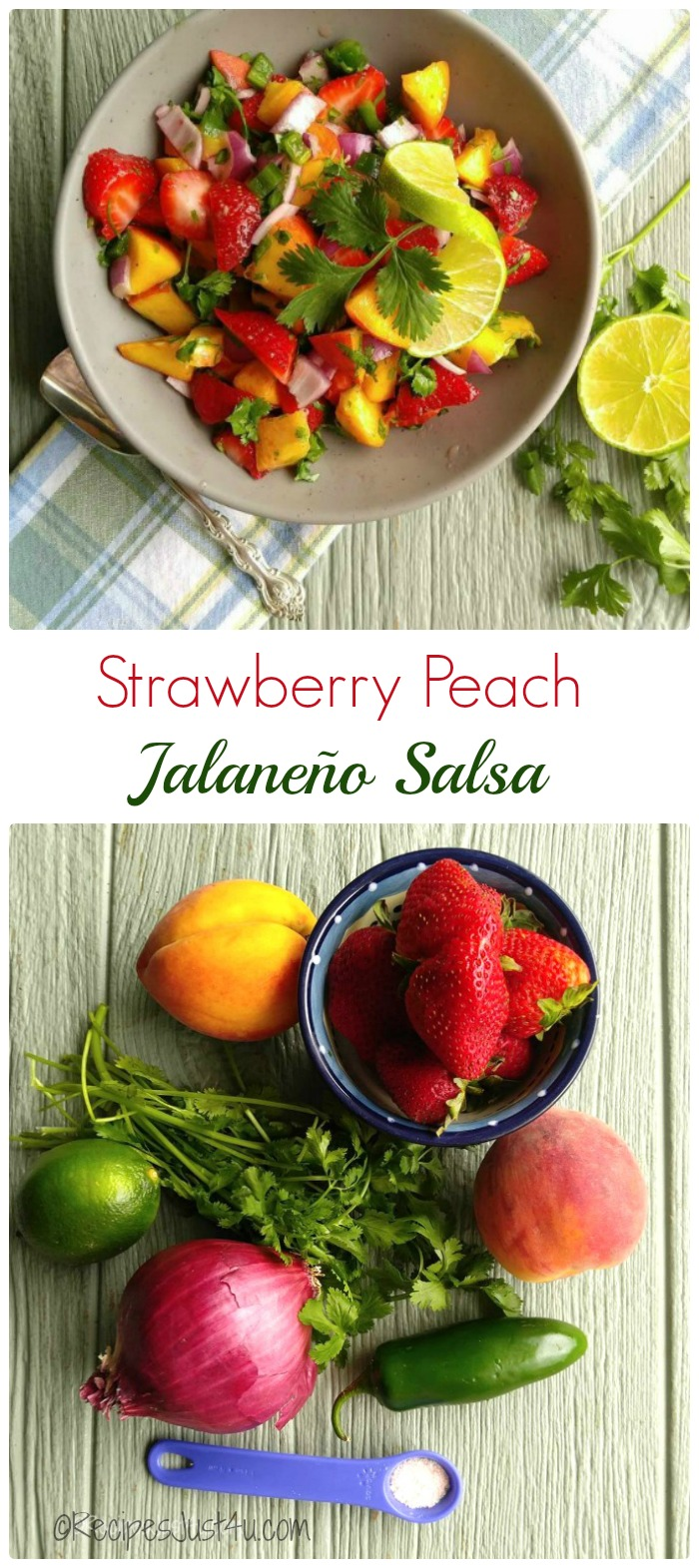 This Strawberry peach jalapeño salsa is the perfect way to start any party.  It is so tasty. Serve it with my home made tortilla chips.  recipesjust4u.com