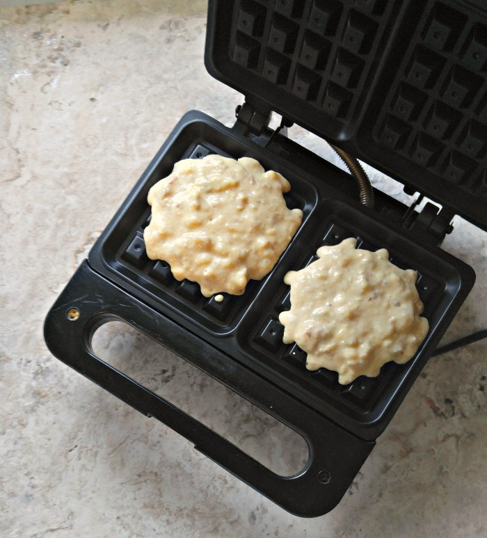 Pour the batter into the waffle maker
