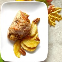 Apple pecan stuffed pork chops