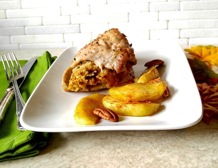 Apple pecan stuffed pork chops