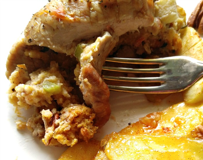 Take a taste of these Apple pecan stuffed pork chops