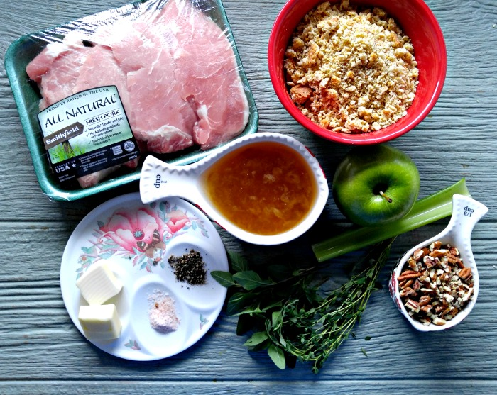 Ingredients for Apple pecan stuffed pork chops