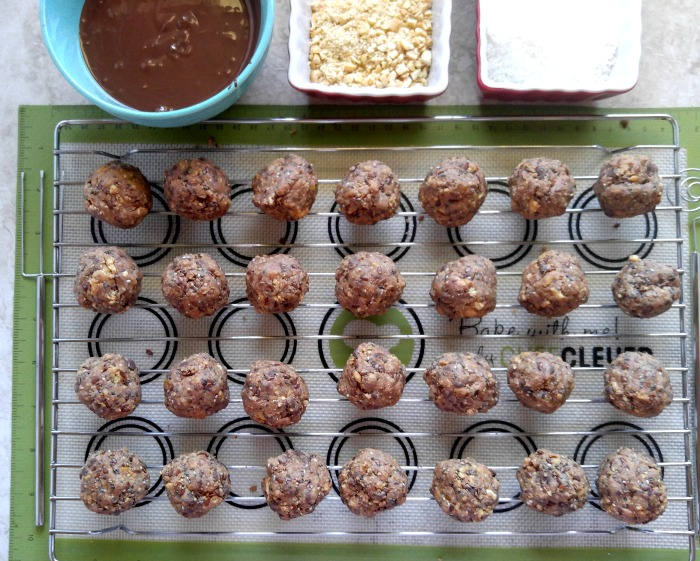 Dipping station for No Bake Chocolate Peanut Butter Bites