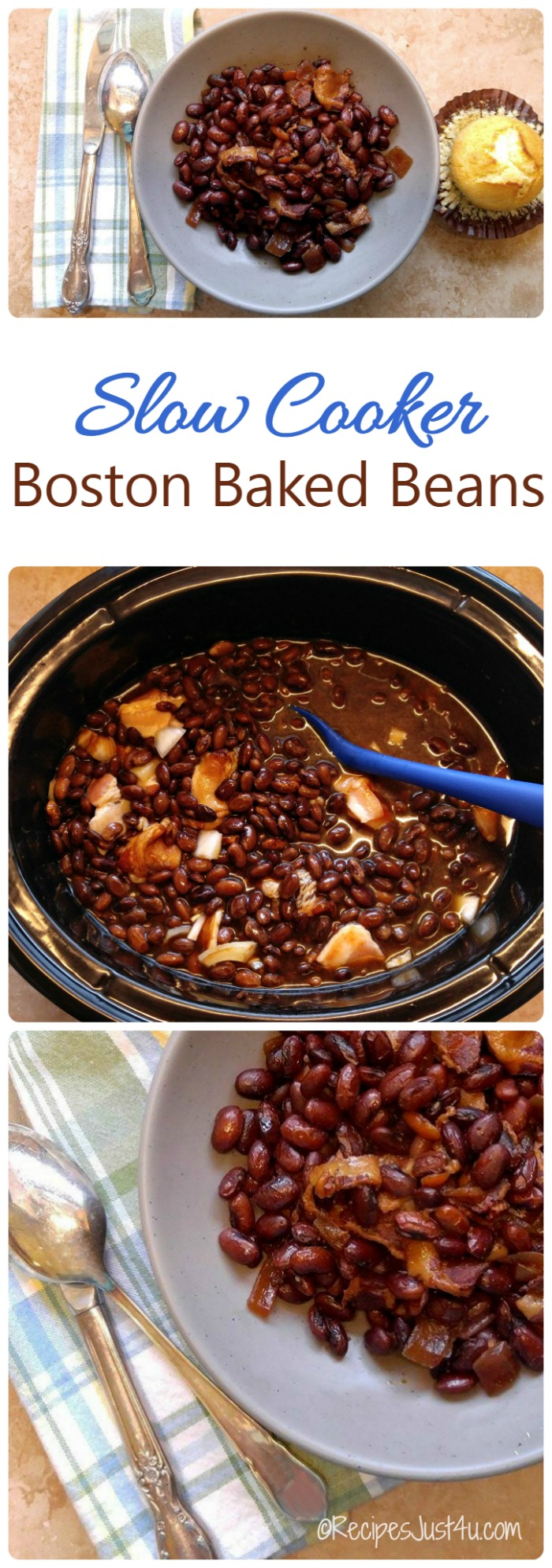 These Slow Cooker Boston Baked Beans are home cooked comfort food at ...