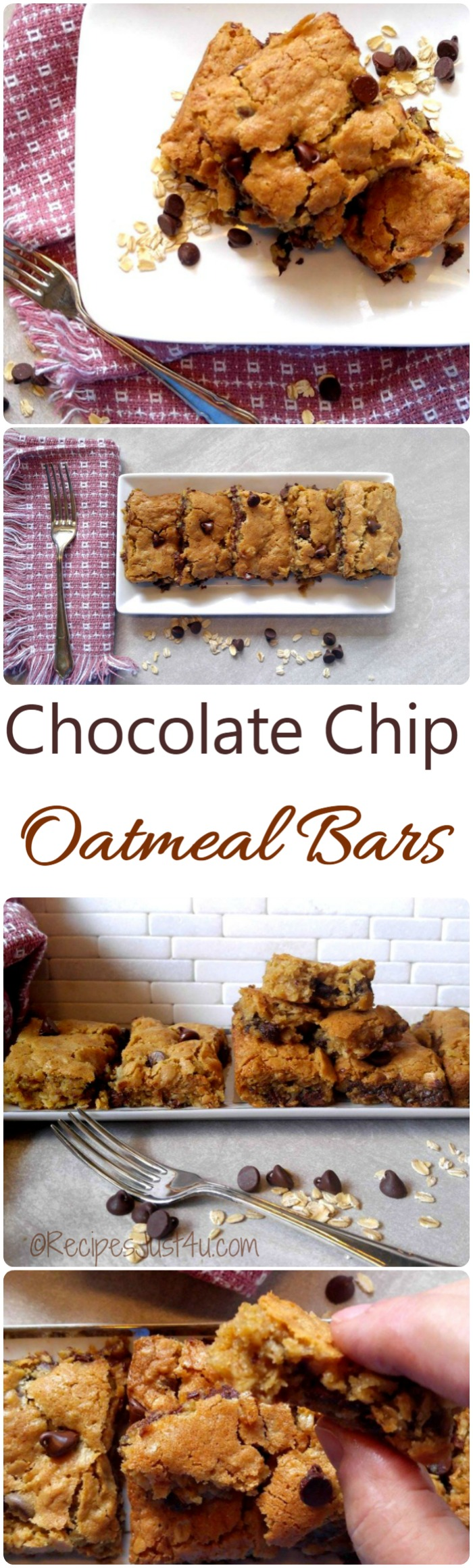 These chocolate chip oatmeal bars are hearty, gooey and full of the flavor dark chocolate and oats. They are super easy to make too.