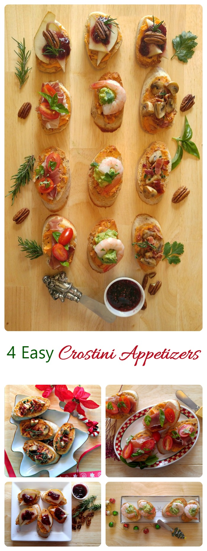 These four easy crostini party appetizers will start your next party off with a bang. They are very easy to make and perfect to serve with cocktails. #InspireWithCheese #ad