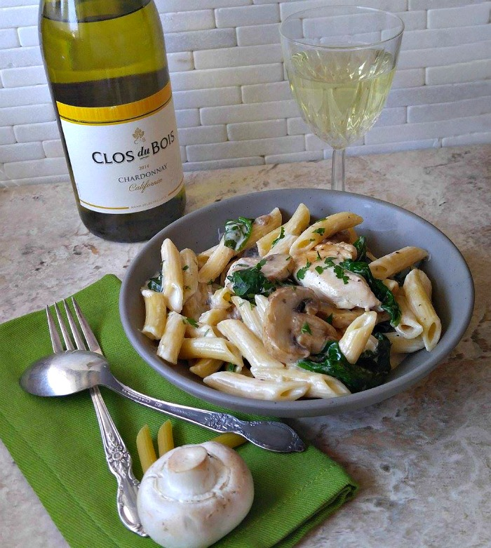 Garlic mushroom chicken and Clos du Bois Chardonnay