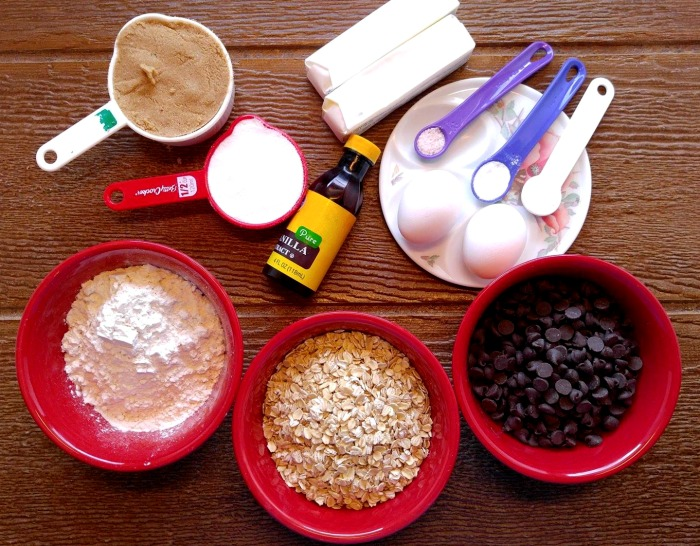 ingredients for my chocolate chip oatmeal bars