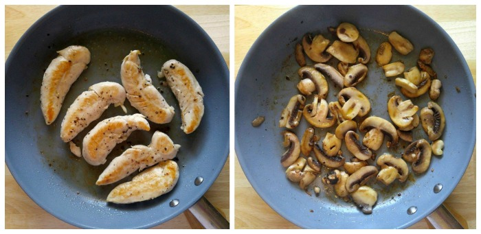 Cook the chicken tenders and mushrooms