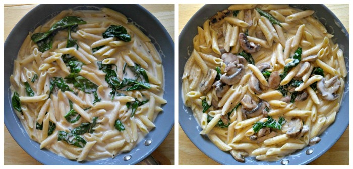 Add the cooked pasta, spinach and mushrooms to the sauce