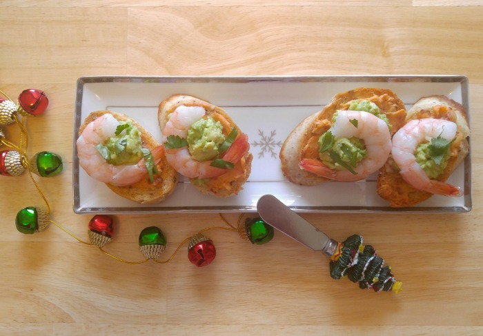 Shrimp and avocado team up with cilantro for this delicious crostini appetizer recipe.