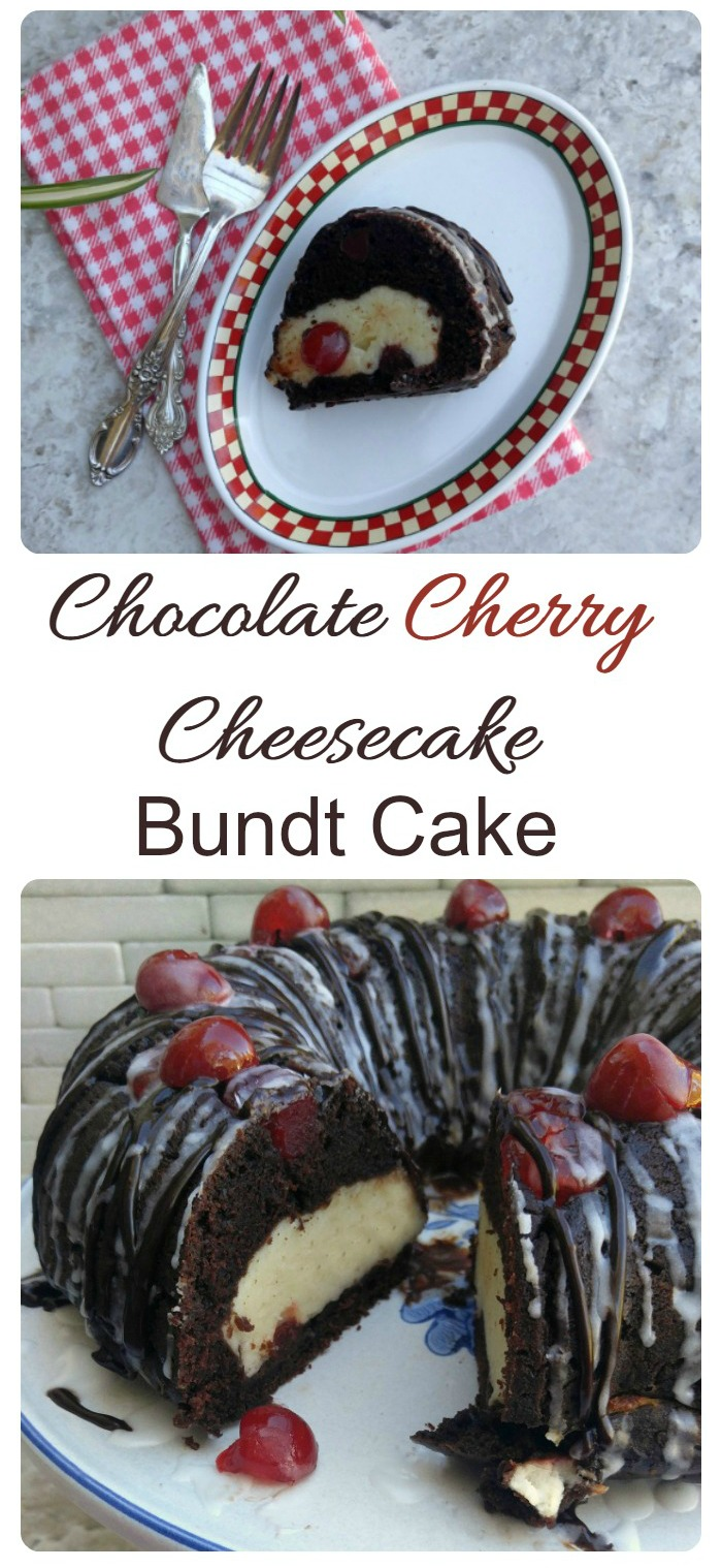 This Cherry Chocolate Cheesecake Bundt cake is a cheesecake and chocolate cake in one amazing dessert. Top it with cherries and a chocolate glaze and your Thanksgiving dessert table is complete.