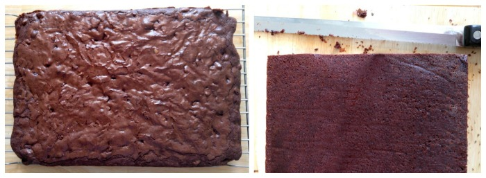 Bake the brownies and trim the edges