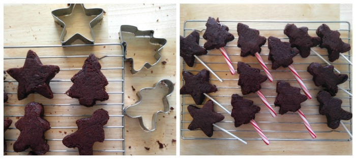 Cut the holiday shapes and add sticks to the brownies