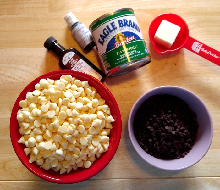 Ingredients for mint chocolate chip fudge