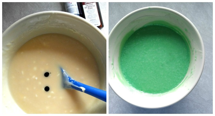 Add green gel food coloring to get a nice mint color