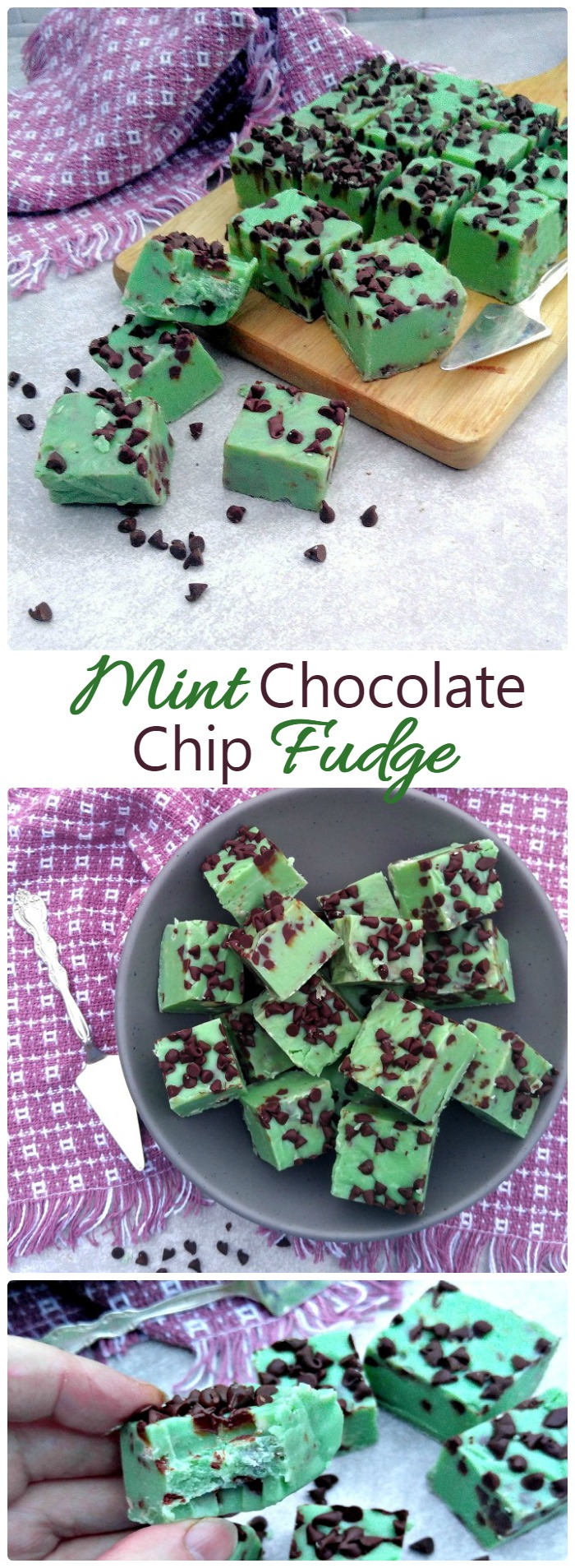 This mint chocolate chip fudge has a rich decadent flavor and is perfect for any special occasion
