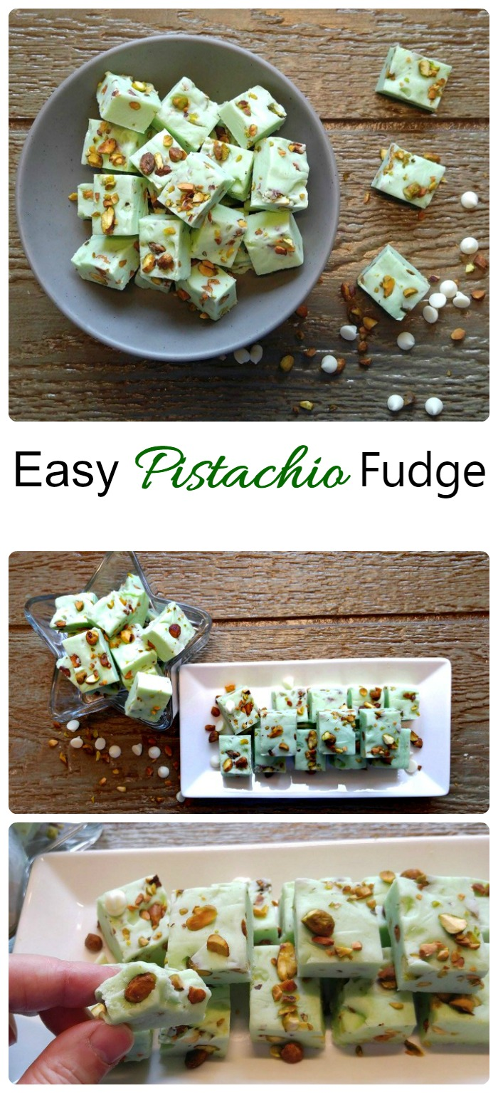 This Easy Pistachio Fudge is simple to make and fool proof. It sets well every single time. #pistachiofudge #nuttyfudgerecipe