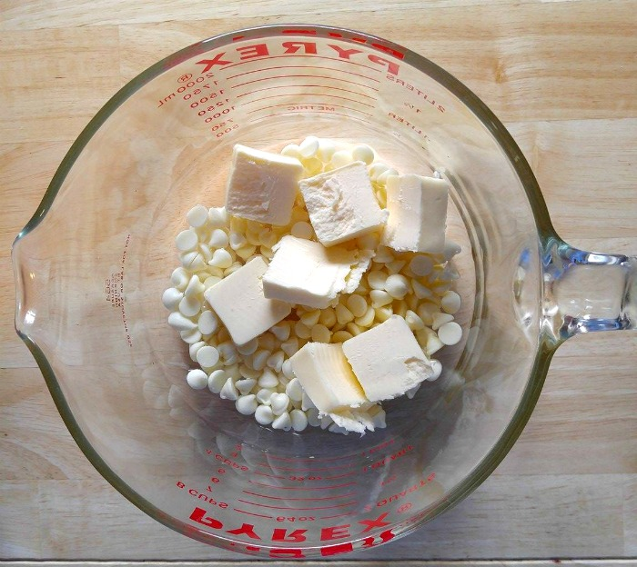 combine butter, chocolate and water in the microwave