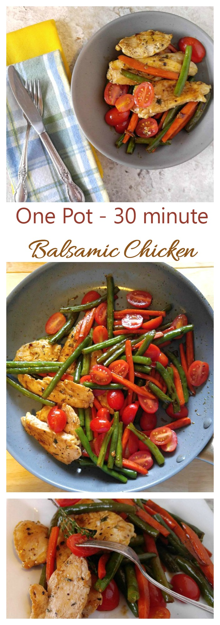 This One pot Balsamic Chicken is ready in 30 minutes. It has a lovely mild sauce that is not too tart and not too sweet. Perfect for a busy weeknight.