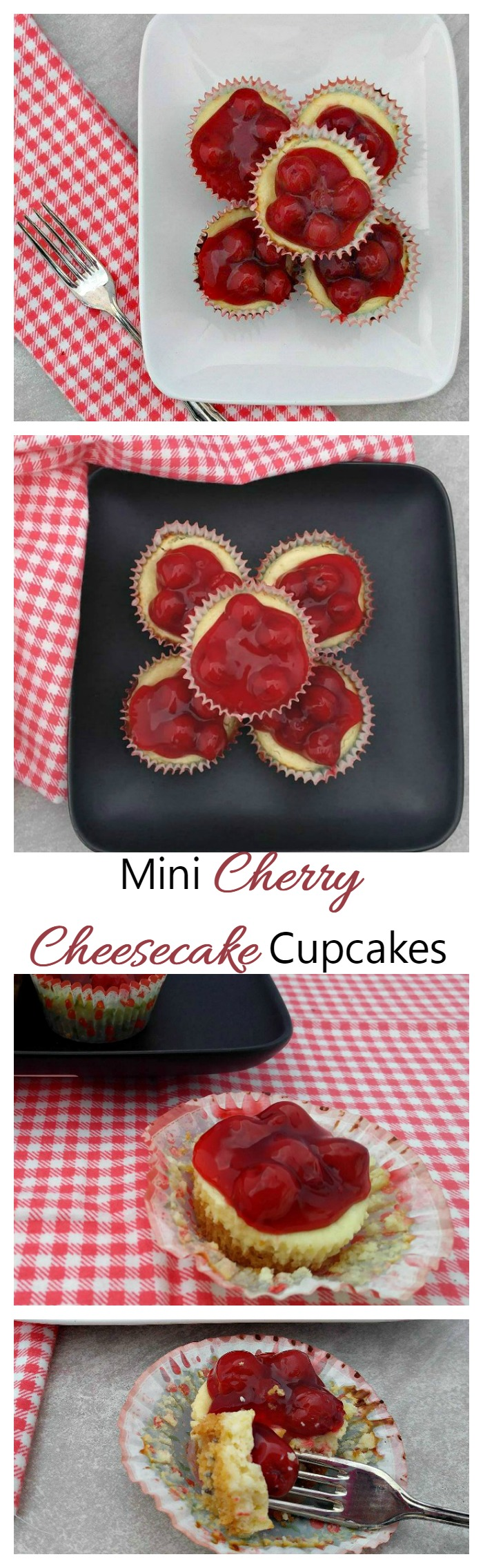 These delicious Mini cherry cheesecake cupcakes have a sweet, crunchy base and a rich creamy filling topped with luscious cherries. They are perfect for Valentine's day or any special occasion.