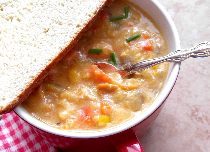 Close up of the Slow cooker chicken corn soup