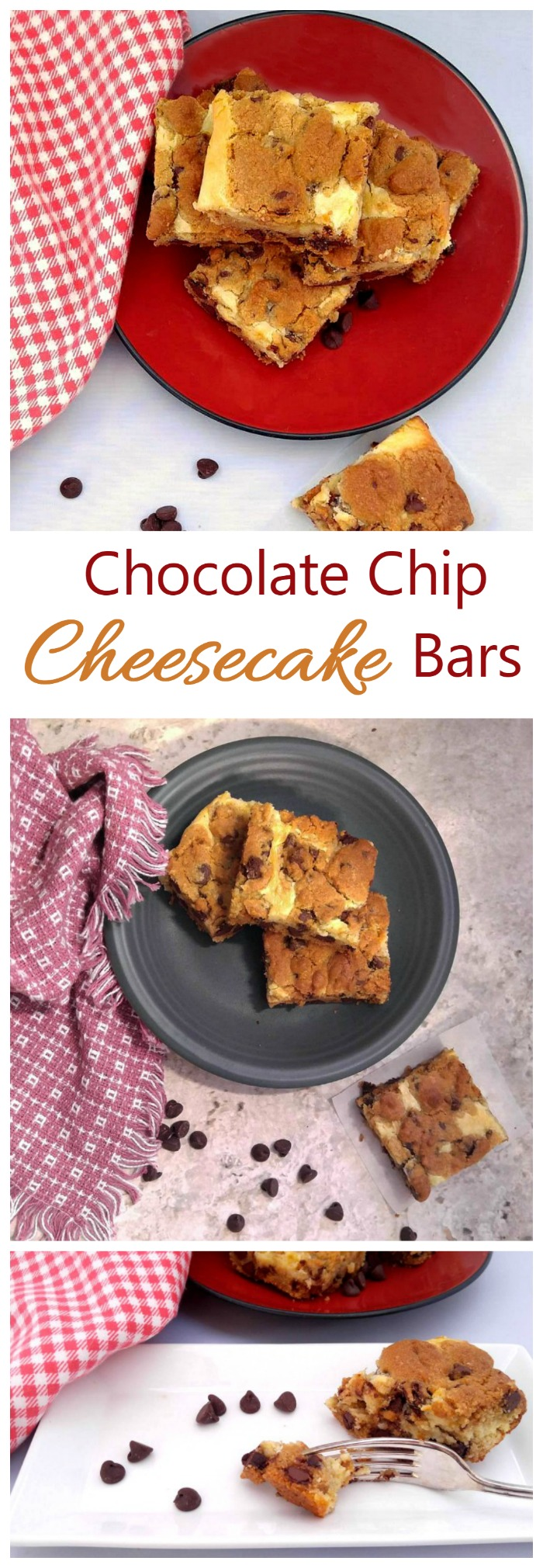 These Chocolate Chip Cheesecake Bars are a cross between a cheesecake and cookies and have the most amazing texture. They are hands down my favorite dessert so far.