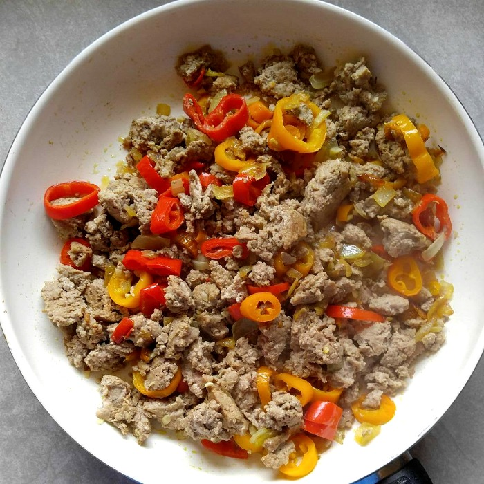 Cook the ground turkey until it is no longer pink
