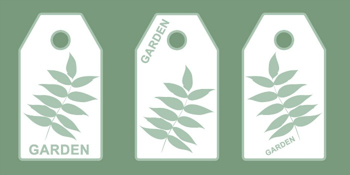 Labels with leaves and the word garden on them.