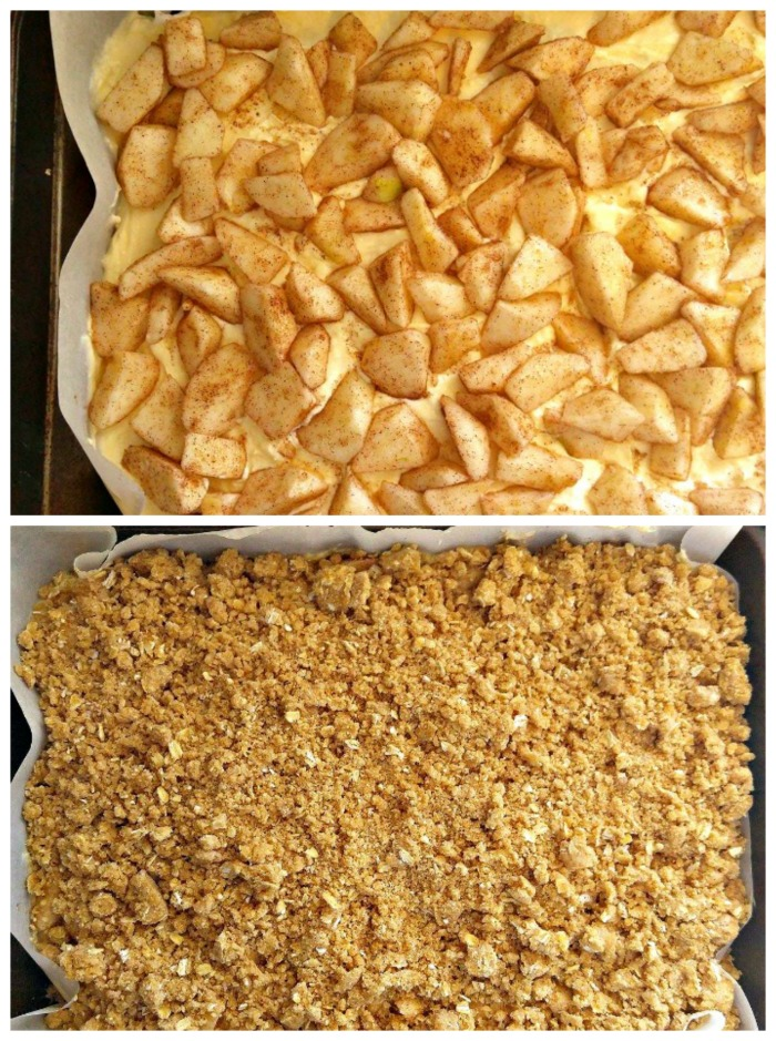 Add the apple layers and then the streusel topping