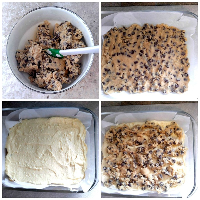 Layers of the chocolate chip cheesecake bars