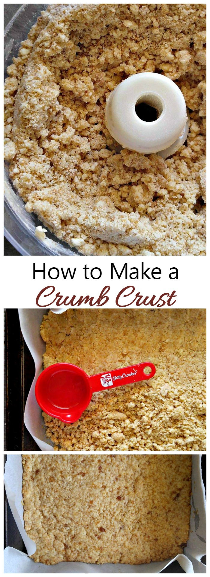 Making the perfect crumb crust is easy with a food processor and just three ingredients. In just seconds, you will have the perfect base for your topping ingredients.