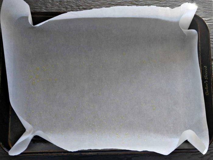 Pan lined with parchment paper.