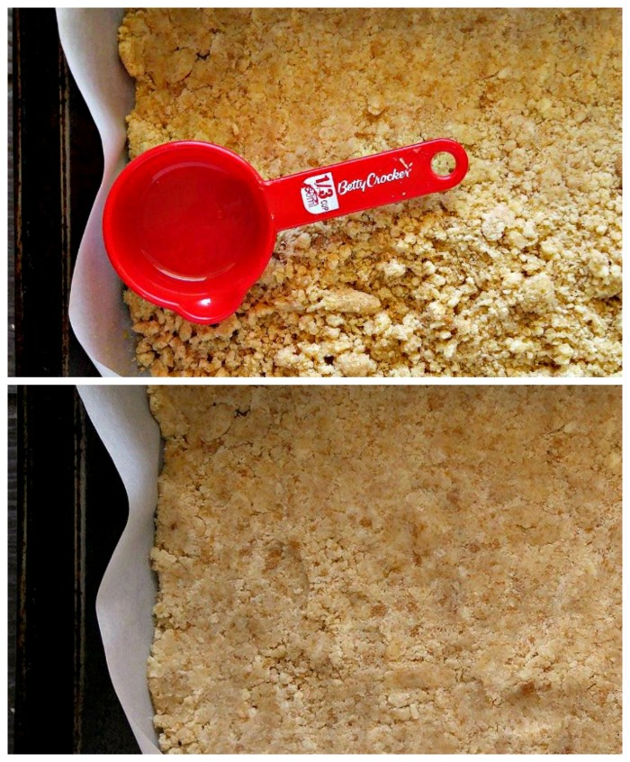 Pressing down a crumble crust