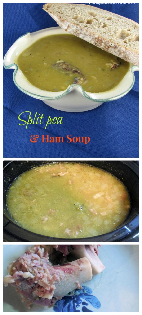 This hearty split pea soup uses left over holiday ham and is made in the crock pot. #splitpeasoup #peasoup #crockpotsoups