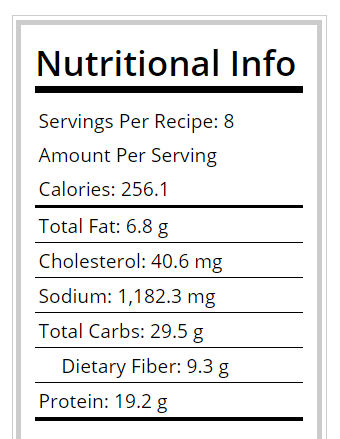 Nutritional info for ground turkey chili