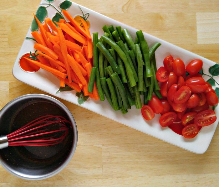 Vegetables and sauce mix for the One pot Balsamic Chicken