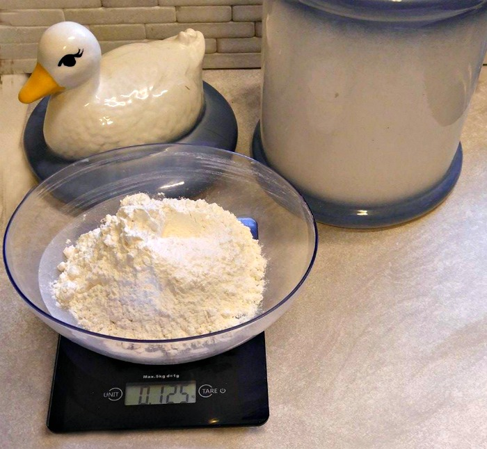 Weighing is a very accurate way of measuring flour.